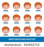 boy child cute emoji  set smily ... | Shutterstock .eps vector #524652712