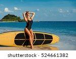 surfer girl in bikini and... | Shutterstock . vector #524661382