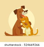 Stock vector cat and dog characters best happy friends vector flat cartoon illustration 524669266