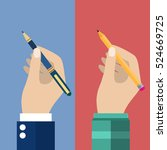 man holding a pencil and pen... | Shutterstock . vector #524669725