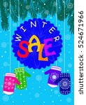 promotional poster winter sale... | Shutterstock .eps vector #524671966