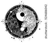 yin and yang tattoo art vector. ... | Shutterstock .eps vector #524686042