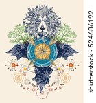 mystic color tattoo. lion ... | Shutterstock .eps vector #524686192