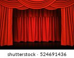 red curtains and wooden stage... | Shutterstock . vector #524691436