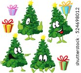 funny xmas tree with hand and... | Shutterstock .eps vector #524698012