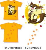 cute brown cat printed on shirt ... | Shutterstock .eps vector #524698036