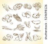 vegetable icons. menu. vector | Shutterstock .eps vector #524698126