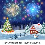 christmas landscape with... | Shutterstock .eps vector #524698246