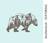 abstract bear and forest | Shutterstock .eps vector #524708362