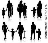 black silhouettes family on... | Shutterstock .eps vector #524714176