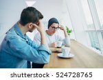 men are sitting in front of the ... | Shutterstock . vector #524728765