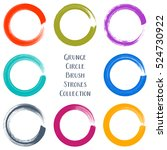 colorful vector circle brush... | Shutterstock .eps vector #524730922