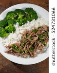 Small photo of boiled beef with pungent sauce garnish rice with broccoli