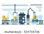 industrial conveyor belt line... | Shutterstock .eps vector #524733736