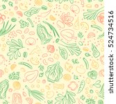 veggie seamless pattern with... | Shutterstock .eps vector #524734516