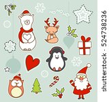 set of christmas characters... | Shutterstock .eps vector #524738236