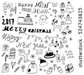 hand drawn christmas design... | Shutterstock .eps vector #524743825
