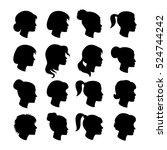 set of women profiles... | Shutterstock .eps vector #524744242