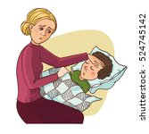 mother worries about her ill...   Shutterstock .eps vector #524745142