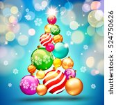 christmas. background with... | Shutterstock .eps vector #524750626