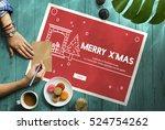 merry christmas santa clause... | Shutterstock . vector #524754262