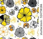vector floral pattern in doodle ...   Shutterstock .eps vector #524758186