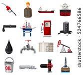 Barrel Oil Production Icons Se...