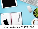 flat lay things on the painted... | Shutterstock . vector #524771008