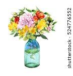Summer Flowers In Glass Bottle. ...