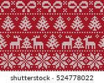 knitted christmas and new year... | Shutterstock .eps vector #524778022