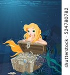 cute mermaid over a treasure... | Shutterstock .eps vector #524780782