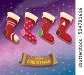 vector cartoon cute christmas... | Shutterstock .eps vector #524781616