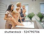big family with three children... | Shutterstock . vector #524790706