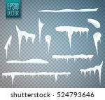 set of snow icicles isolated on ... | Shutterstock .eps vector #524793646