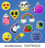 set of cute comic style... | Shutterstock .eps vector #524794222