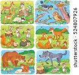 cute forest animals. cute deer  ... | Shutterstock . vector #524807926