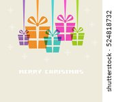 christmas gifts with ribbon and ... | Shutterstock . vector #524818732