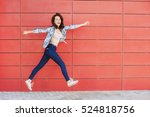 joyful happy young woman... | Shutterstock . vector #524818756