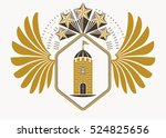 classy emblem made with eagle... | Shutterstock .eps vector #524825656
