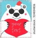 big white bear with glasses red ... | Shutterstock .eps vector #524834836