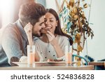 happy young couple eating... | Shutterstock . vector #524836828