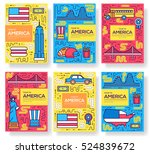 usa vector brochure cards thin... | Shutterstock .eps vector #524839672