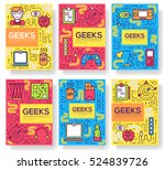 it geeks vector brochure cards... | Shutterstock .eps vector #524839726