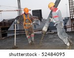 builder workers aiming pump...   Shutterstock . vector #52484095