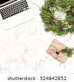 office desk with christmas... | Shutterstock . vector #524842852