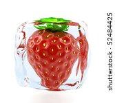 strawberry frozen in ice cube | Shutterstock . vector #52484425