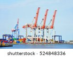 port cargo crane and container... | Shutterstock . vector #524848336