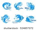 wave of blue sea or ocean water ... | Shutterstock .eps vector #524857372