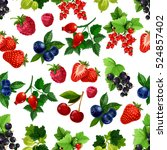 Berries Fruits Pattern. Vector...