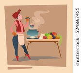 farmer country woman cooking... | Shutterstock .eps vector #524867425